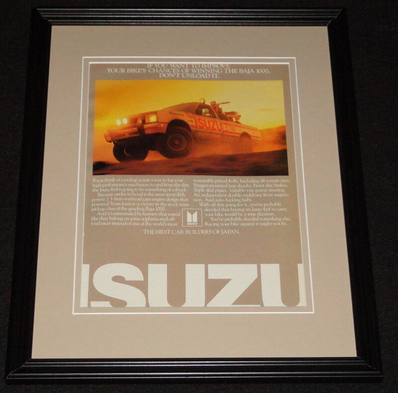 1985 Isuzu Baja 1000 Framed 11x14 ORIGINAL Vintage Advertisement