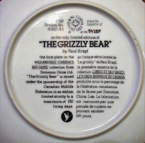 "Vintage ""THE GRIZZLY BEAR"" Plate by Paul Krapf Kitchener / Waterloo Kitchener Area image 3"