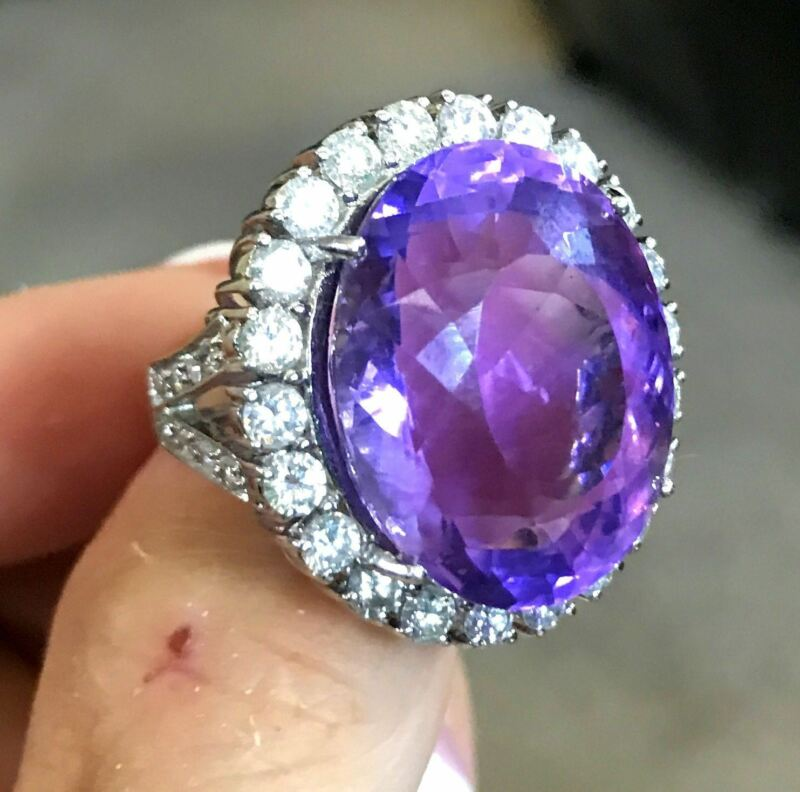 Huge Heavy 18k White Gold 36ct Amethyst 2.5ct Diamond Cocktail Ring 21.2gms