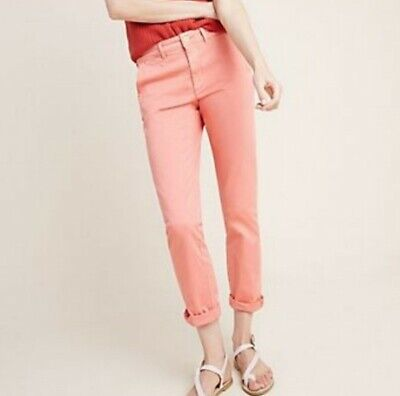 Anthropologie Chino Pink Relaxed Ankle Crop pants, size 28, excellent pre-owned