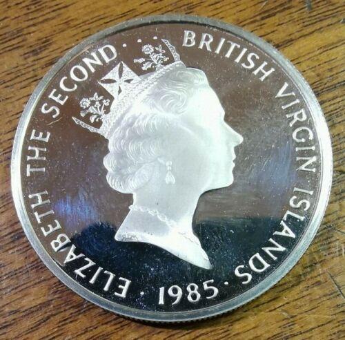 1985 $20 Queen Elizabeth Silver Proof Twenty Dollars British Virgin Islands