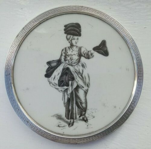 Silver mounted coaster wi C18th style inset plaque of tricorn hat-seller