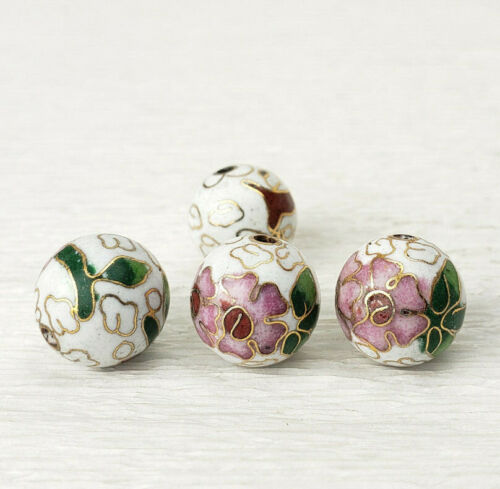 Vintage White Pink Flowers Cloisonne Chinese Enamel 12mm  4PCs