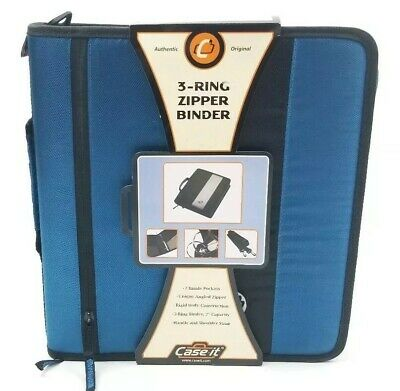 Case It Ring Binder The Classic Zipper 2 Inches 3 Ring Handle Strap Blue D-250