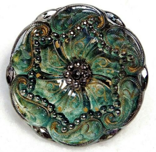 Antique Vtg Button LARGE Victorian LACY Glass w Green Paisleys NICE! #H