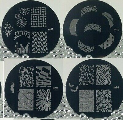 Nail Art Stamping Plate Round Full Nail, Frenchy print 1, 10, 20 Your choice