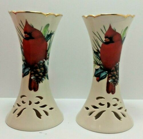 Lenox Winter Greetings Pierced Candlestick Pair (2) Minty Red Cardinal w/ Box