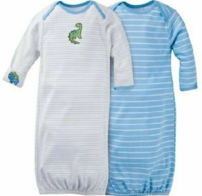 - Gerber Boy 2-Pack Blue Dinosaurs Lap Shoulder Gowns Size 0-6M BABY CLOTHES GIFT