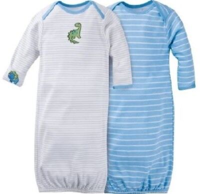 - GERBER BABY BOY Lap Shoulder Gowns 2-Pack - DINOSAUR Baby Shower Gift Blue NWT