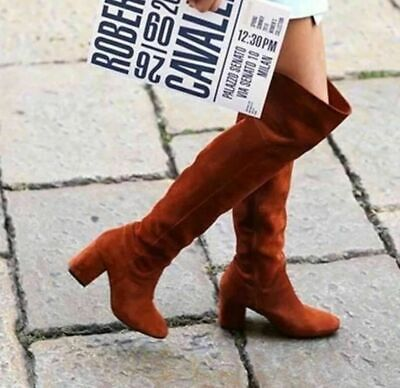 ZARA GENUINE BOLLER REAL LEATHER SUEDE OVER THE KNEE XL LEATHER BOOTS EUR 36