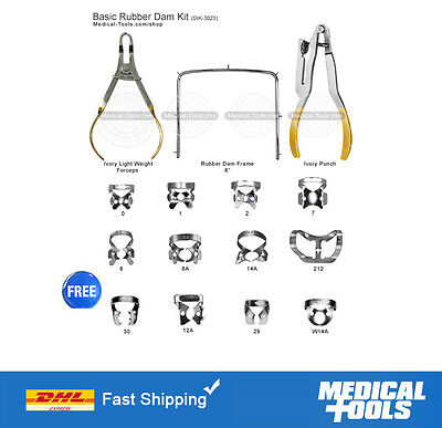Rubber Dam Instruments Kit Dental Endodontic Punch Clamps Premium Quality