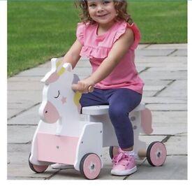 Ride on unicorn wooden toy