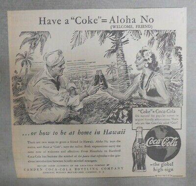 1950s HAWAII Honolulu COCA COLA Cork Crown Tavern Trove Globe