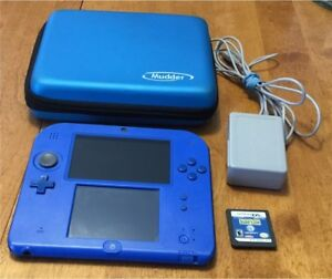 Nintendo 2DS Blue Black w Charger Case Game 4GB SD Card