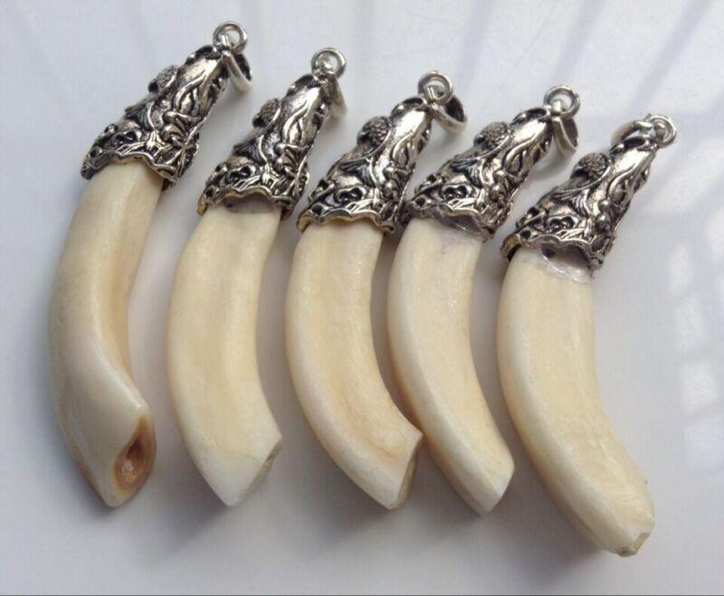 5PCS Camel Tooth Bone Tibet Silver Fish Cap Ethnic Amulet Pendant DIY BEADS