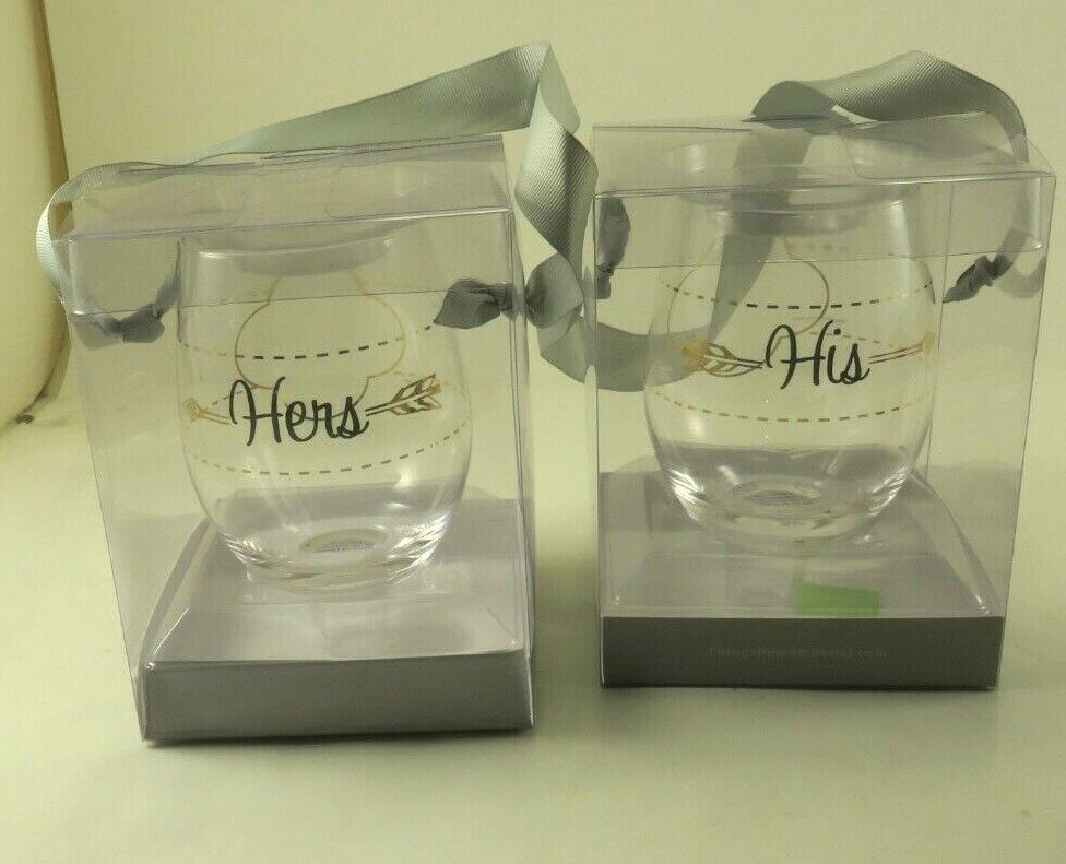 THINGS REMEMBERED NEW WITH TAGS HIS HERS STEMLESS WINE GLASSES - $12.50