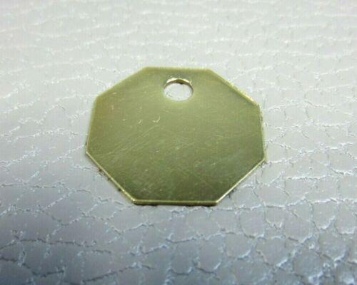"50 Octagonal 1-1/8""  Blank Brass ID Tags Pets Keys Tools Valves"