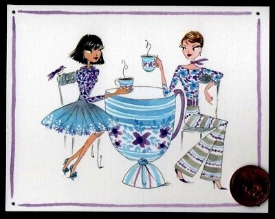 Papyrus Girlfriends Blue Coffee Cup Table  Chairs Bird -  Small Note Card  NEW
