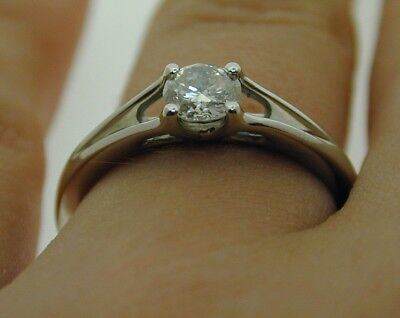 Platinum Diamond Solitaire Engagment Ring size N 1/2 0.42 cts Natural Diamond