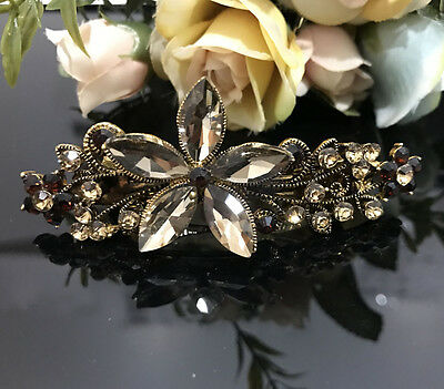 ANtique Gold Tone Rhinestone Brown color metal  flower Hair Clip Barrette 180117 (Gold Tone Flower Clip)