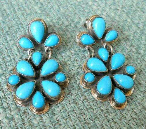 Sleeping Beauty Turquoise Earrings .925 Sterling Roie Jaque Native American