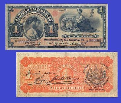 EL SALVADOR 1 PESO BANCO SALVADOREÑO 1914. UNC - Reproduction