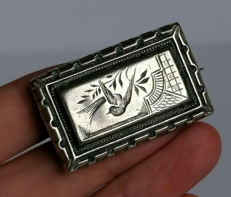 Antique Victorian Swallow BIRD AESTHETIC Pretty BROOCH pin Circa 1880