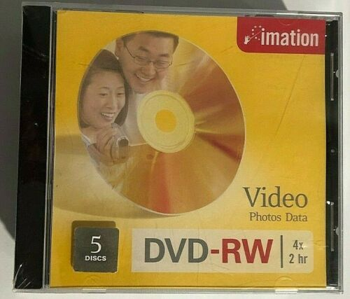 Imation NEW SEALED Video Photos Data DVD-RW 4x 2 hr 5 Discs High Quality Storage