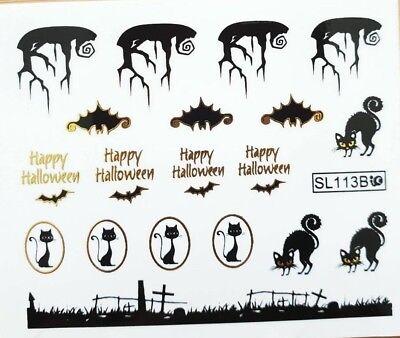 Halloween Nagel Nail Sticker Tattoo Fingernagel Aufkleber Katze Fledermau