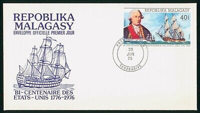 Mayfairstamps Malagasy Republic FDC 1975 Grasse and Ship US Bicentenary First Da