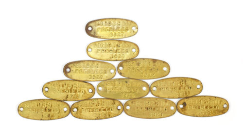 11 Vintage Unused 1938 Brass Dog Tags / License - PREBLE County Ohio