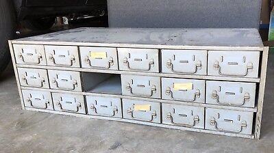 Vintage Industrial Metal 18 Drawer Shop Cabinet Steampunk Parts