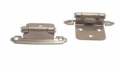 10 Pair Self Closing Cabinet Door Variable Overlay Hinges Satin Nickel 495-SN