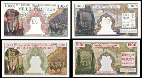 !COPY! FRENCH INDO-CHINA 1000, 200 PIASTRES 1951 ELEPHANTS BANKNOTES !NOT REAL!