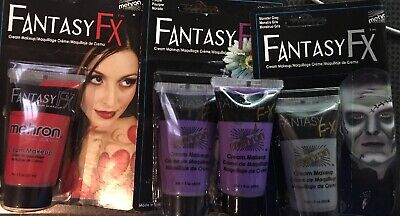 LOT OF 4 Makeup Fantasy FX Mehron Cream Halloween GREY RED PURPLE NEW/SEALED - Grey Halloween Makeup