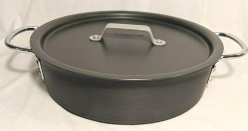 Commercial Aluminum Calphalon 3 Qt Deep Pan #5003 Double Handle w/ lid Anodized