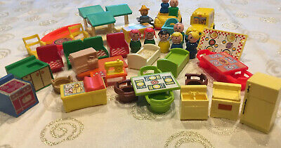 Lot Fisher Price Little People Furniture School Bus Car Sewing Machine RARE ITEM