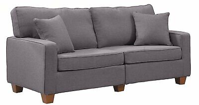 Contemporary Modern Couch 73 inch Linen Fabric Loveseat Sofa with Wood Legs Grey