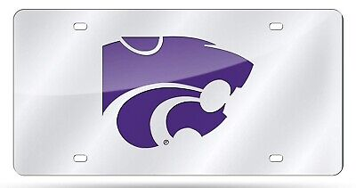 Kansas State Wildcats Premium SILVER Laser Tag Acrylic License Plate (Kansas State Wildcats University)