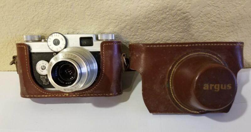 Vintage Argus C-Four C4 35mm Rangefinder Film Camera w/ Cintar 50mm F2.8 Lens