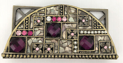 Decorative Business Card Holder Metalenamel Jeweled Shell Pearl New In Box