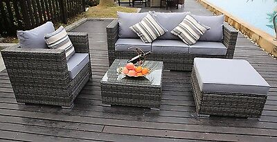 NEW RATTAN GARDEN FURNITURE SOFA TABLE CHAIRS GREY PATIO CONSERVATORY SOFA SET