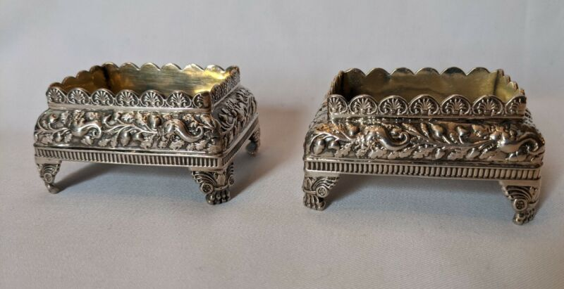 Pair Of Antique Sterling Silver Open Salts