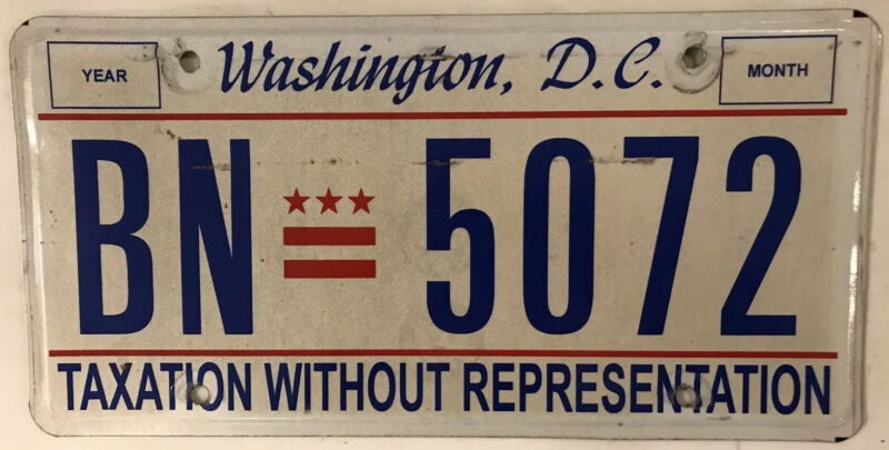 District Columbia Taxation license plate D.C. USA Graphic Washington DC #BN 5072