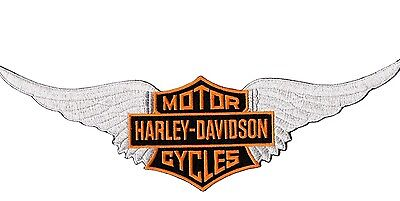 """Vintage HARLEY WINGS Motorcycle Shield BACK PATCH IRON ON Jacket Vest LARGE 12"""""""