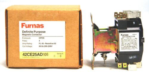 Furnas 42CE25AD106 Definite Purpose Contactor 40A 50A 4 Pole 200-208V Coil
