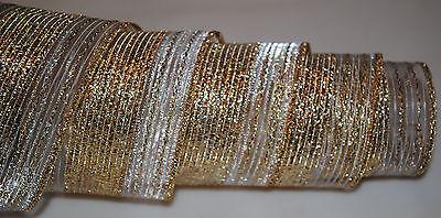 Wired Ribbon~Sheer~Metallic Gold Stripe~White~2.5