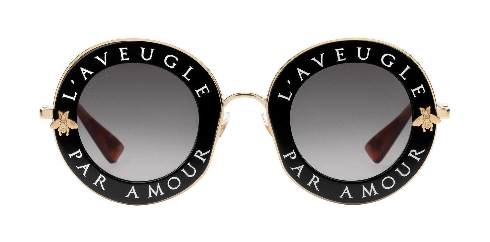 33c290ea522 Authentic Gucci Gg0113s 001 Black Gold Sunglasses 44mm L aveugle Par ...