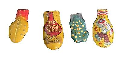 Vtg TIN LITHO CLICKER US Metal Toy Noisemakers - Lot Of 4