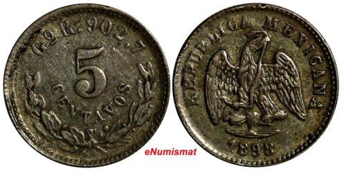 MEXICO Silver 1898 Go R 5 Centavos Guanajuato Mint-180,00 Mule,Gold Peso KM400.1